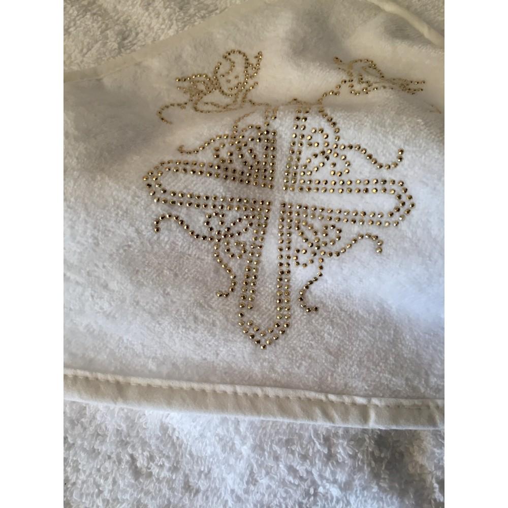 Крыжма  для крещения с уголком махровая 100*100 золото
